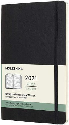 Immagine di 12 MONTHS, WEEKLY, HORIZONTAL. LARGE, SOFT COVER, BLACK 2021